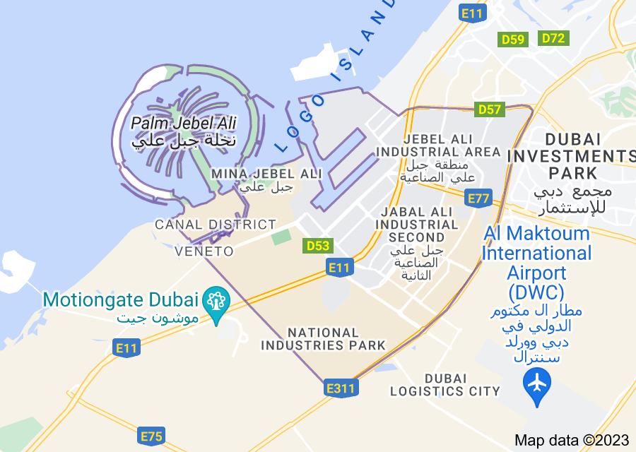 Location of Mina Jebel Ali