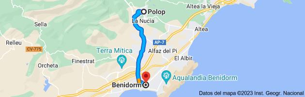 Mapa de Polop, 03520, Alicante a Benidorm, Alicante