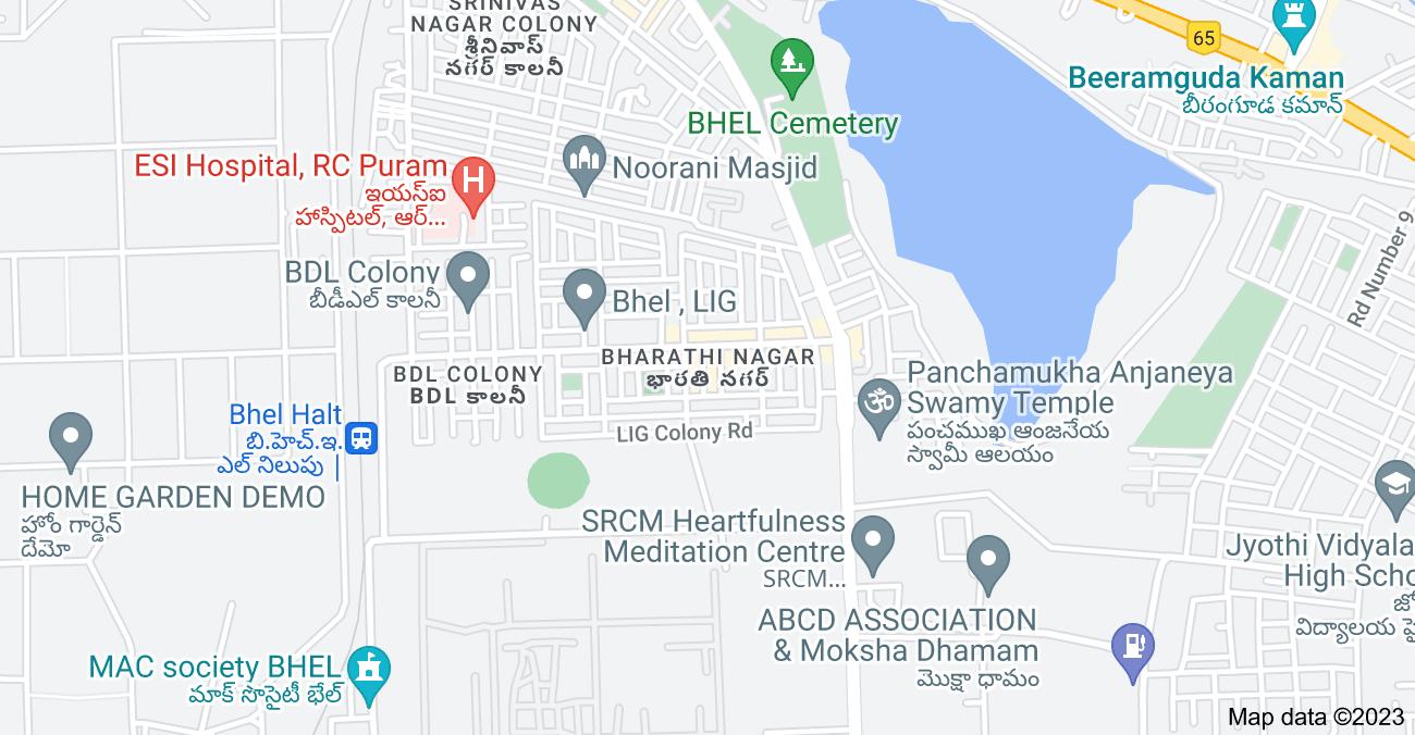 Map of Bharathi Nagar, Bharat Heavy Electricals Limited, Hyderabad, Telangana 502032, India