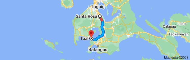 Map from Santa Rosa, Laguna to Taal, Batangas