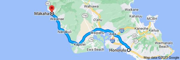 Map from Honolulu, Hawaii to Mākaha, Hawaii 96792