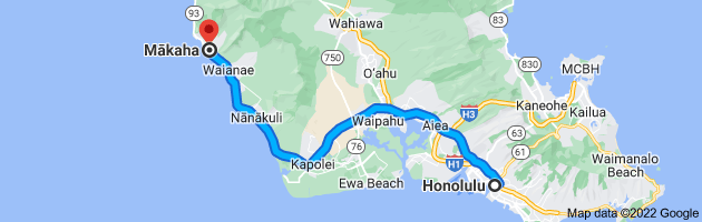 Map from Honolulu, Hawaii to Mākaha, Hawaii 96792