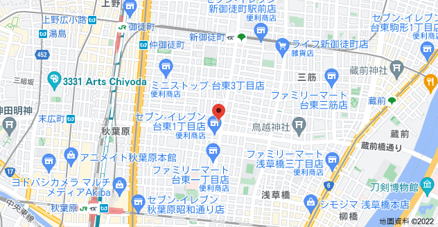 日本〒110-0016 Tōkyō-to, Taito City, Taitō, 2-chōme−1−7 パークリュクス秋葉原monoイースト地圖