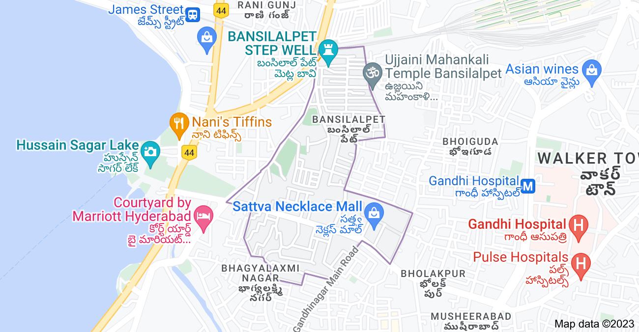 Map of Bansilalpet, Bhoiguda, Hyderabad, Telangana, India