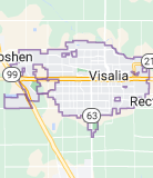 Map of Visalia, California