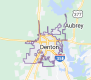 Map of Denton, Texas
