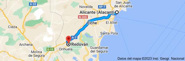 Mapa de Alicante a Redován, 03370, Alicante