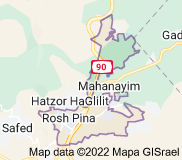 Map of Rosh Pinna Israel