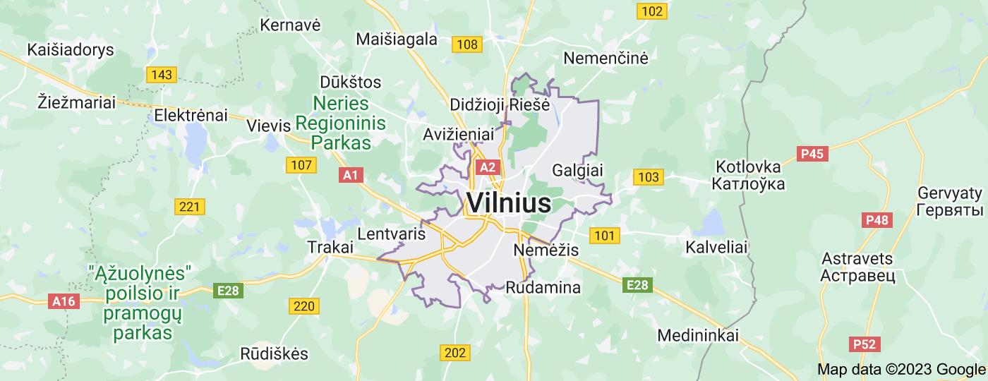 Location of Vilnius