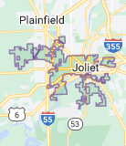 Map of Joliet, Illinois