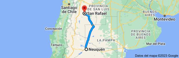 Mapa de Neuquén a San Rafael, Mendoza