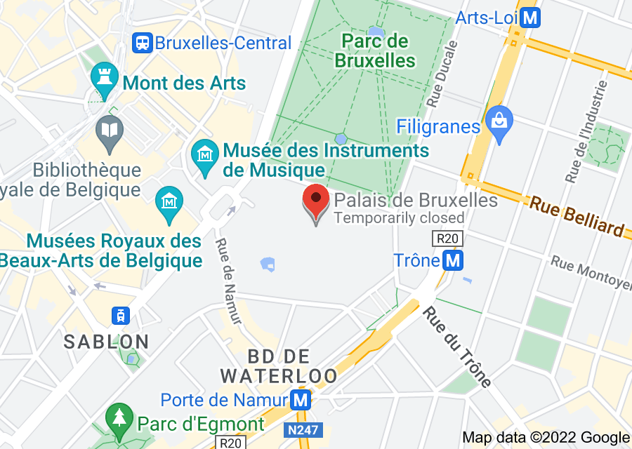 Location of Royal Palace of Brussels