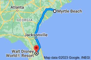 Map from Myrtle Beach, South Carolina to Walt Disney World Resort, Orlando, FL 32830