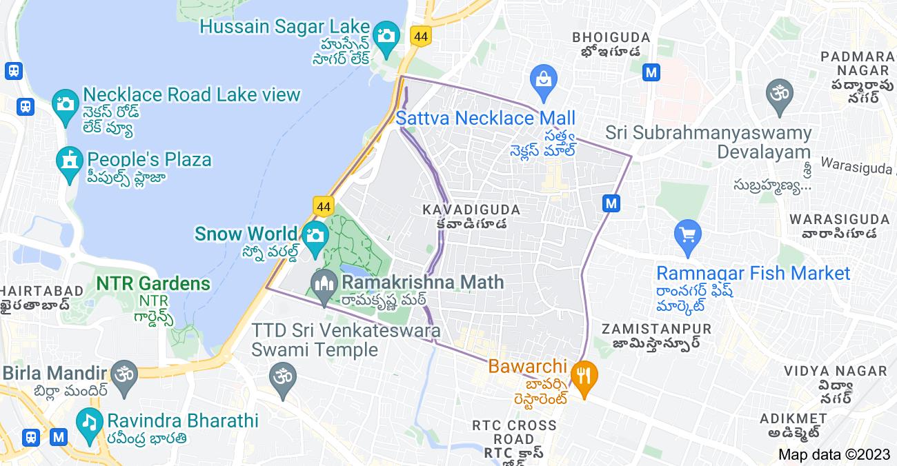 Map of Kavadiguda, Hyderabad, Telangana, India