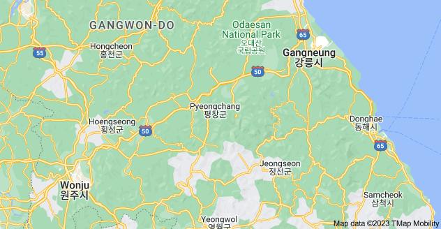 Map of Pyeongchang-gun, Gangwon-do, South Korea