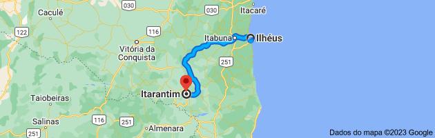 Mapa de Ilhéus, BA para Itarantim, BA, 45780-000