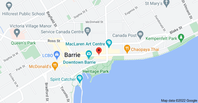 Map of 111 Dunlop St E, Barrie, ON L4M 1A6