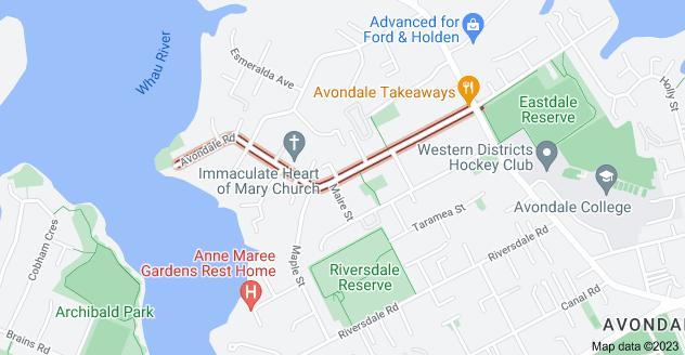 Location of Avondale Road