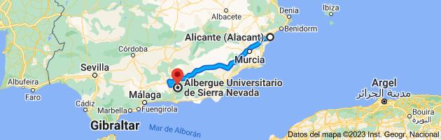 Mapa de Alicante (Alacant), Alicante a Albergue Universitario de Sierra Nevada, 18196, Granada