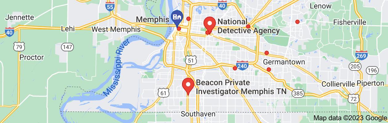 Map of private investigator memphis tn