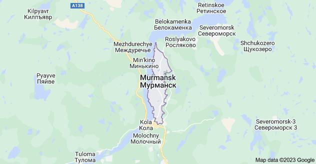 Map of Murmansk, Murmansk Oblast, Russia