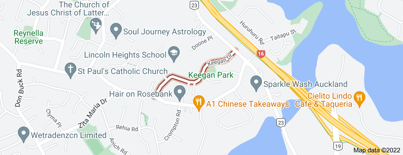 Location of Keegan Drive