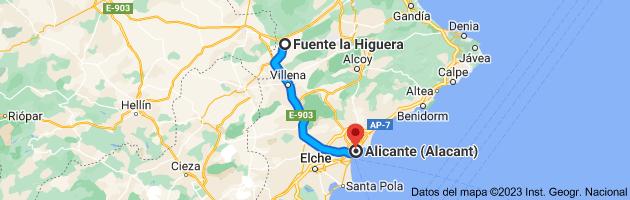 Mapa de Fuente la Higuera, 46630, Valencia a Alicante