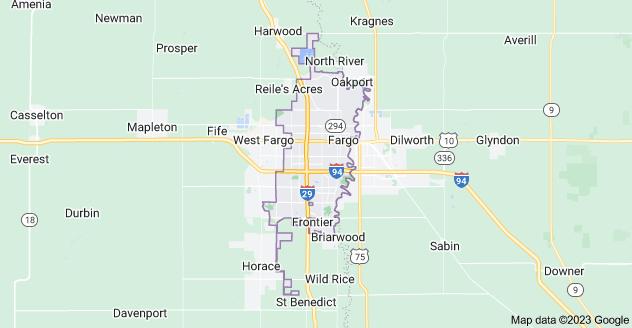 Map of Fargo, ND