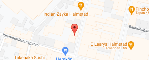 Karta som visar företagets adress