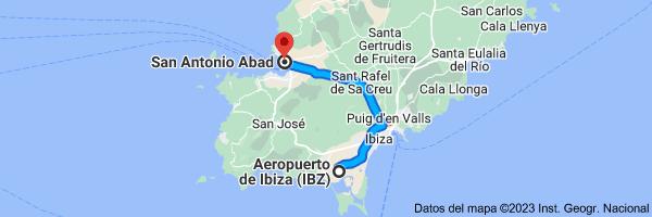 Mapa de Aeropuerto de Ibiza (IBZ), 07818 Sant Jordi de ses Salines, Islas Baleares a San Antonio Abad, 07820, Islas Baleares