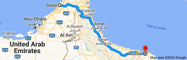 Dubai to Muscat map