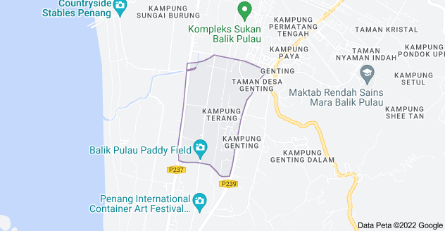 Peta Kampung Terang, 11000 Balik Pulau, Pulau Pinang