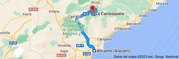 Mapa de Alicante a La Carrasqueta, 03440, Alicante