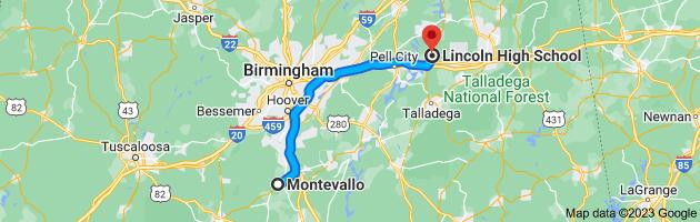 Map from Montevallo, Alabama 35115 to Lincoln High School, 78989 AL-77, Lincoln, AL 35096