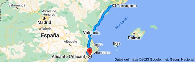 Mapa de Tarragona a Alicante