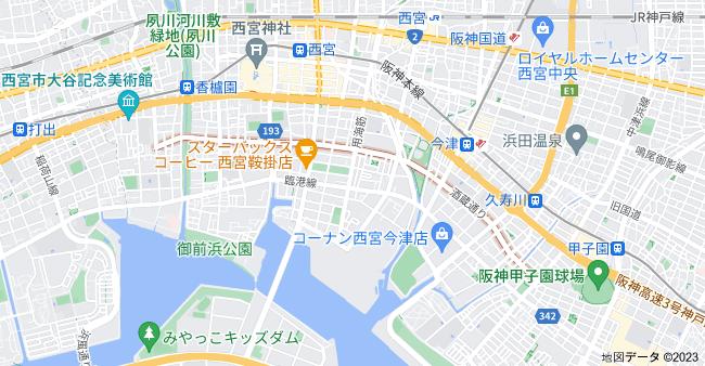 兵庫県西宮市 酒蔵通りの地図