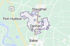 Map of Zachary, Louisiana