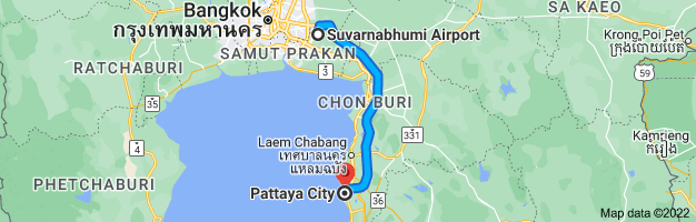 Map from Suvarnabhumi Airport (BKK), 999 หมู่ 1 Nong Prue, Amphoe Bang Phli, Chang Wat Samut Prakan 10540, Thailand to Pattaya City, Bang Lamung District, Chon Buri 20150, Thailand