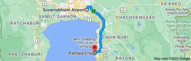 Map from Suvarnabhumi Airport (BKK), 999 หมู่ 1 Nong Prue, Amphoe Bang Phli, Chang Wat Samut Prakan 10540, Thailand to Pattaya City, Bang Lamung District, Chon Buri 20150, Thailand