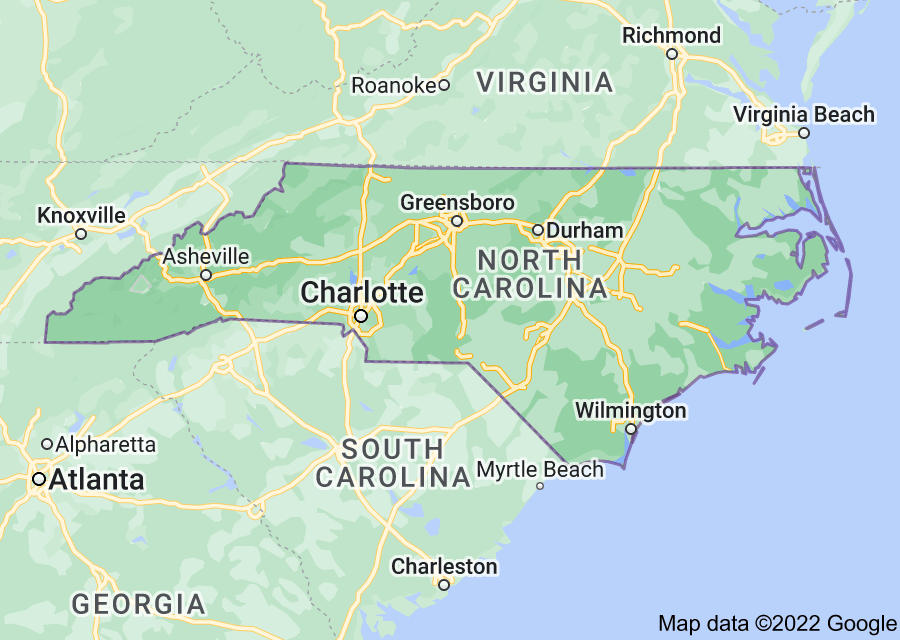 Location of North Carolina