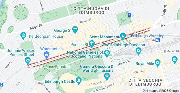 Mappa di: Princes St, Edinburgh, Regno Unito