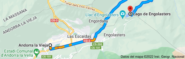 Mapa de Andorra la Vieja, AD500, Andorra a Lago de Engolasters, AD200, Andorra