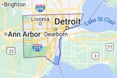Map of Wayne County, Michigan