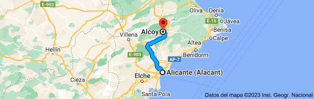 Mapa de Alicante a Alcoy, Alicante
