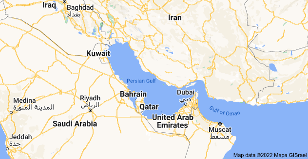 Map of Persian Gulf (also known as the Arabian Gulf)