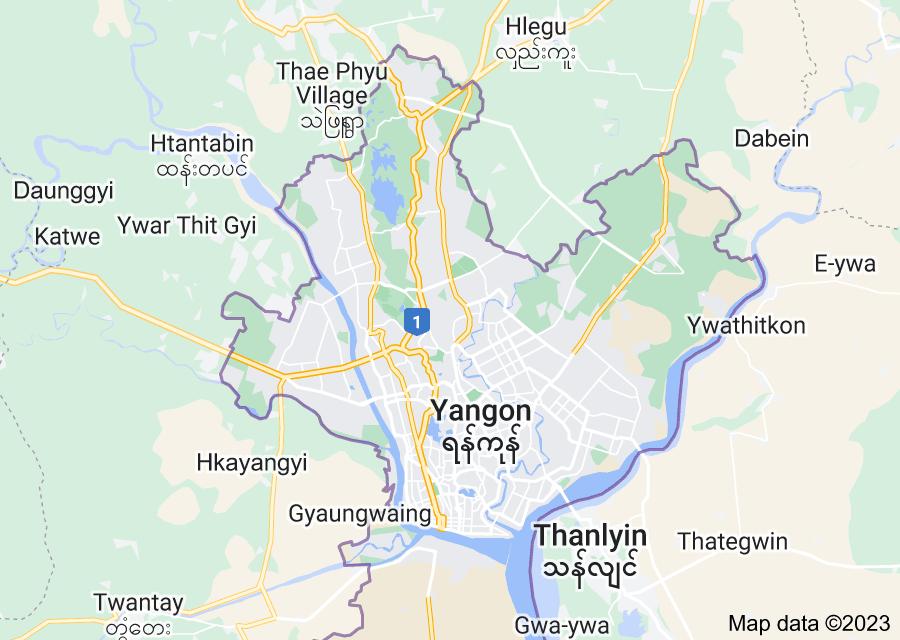 Location of Yangon