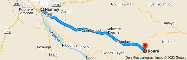 Carte depuis Niamey, Niger pour Kouré, Niger