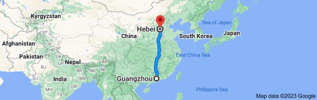 Map from Guangzhou, Guangdong, China to Hebei, China