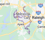 Map of Cary, North Carolina