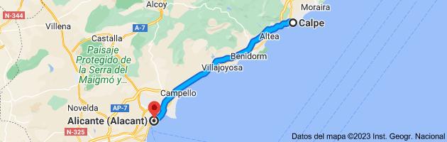 Mapa de Calpe, Alicante a Alicante (Alacant), Alicante